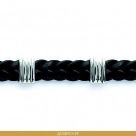 Bracelet acier et cuir tressé homme