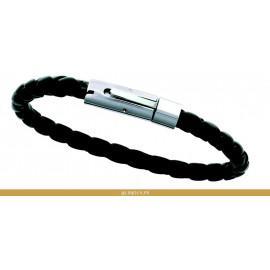Bracelet acier et cuir tressé noir ou marron homme