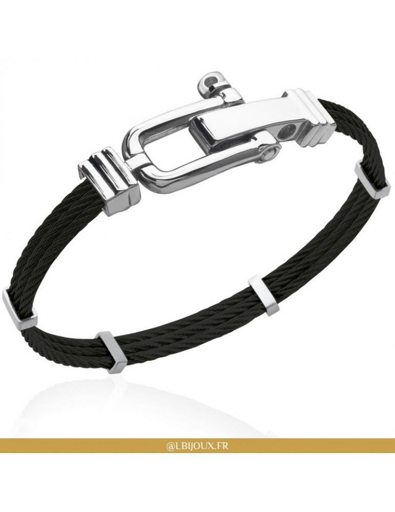 Bracelet acier et PVD noir manille homme