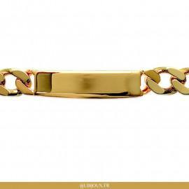 Bracelet gourmette identité plaqué or homme avec plaque