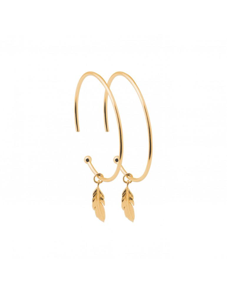 Boucles d'oreilles créoles plaqué or femme plumes LBIJOUX - 1