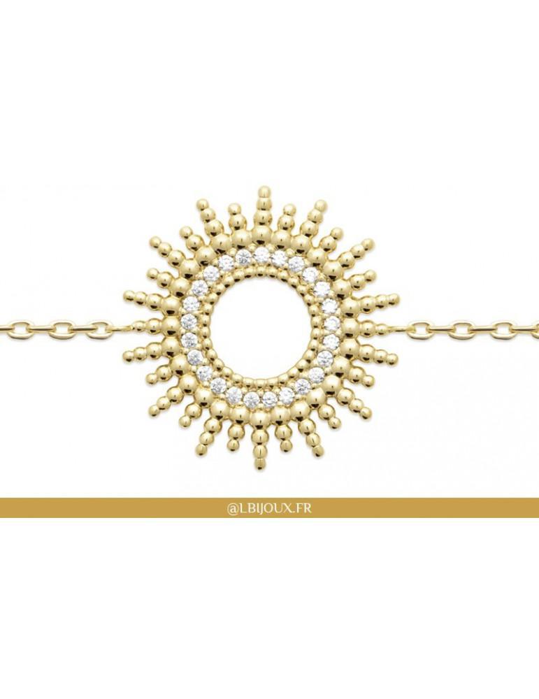 Bracelet plaqué or perlé et oxydes soleil femme