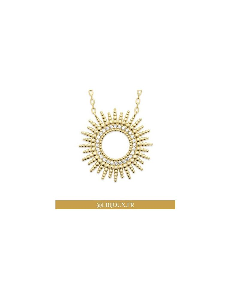 Collier plaqué or perlé en forme de soleil oxydes femme