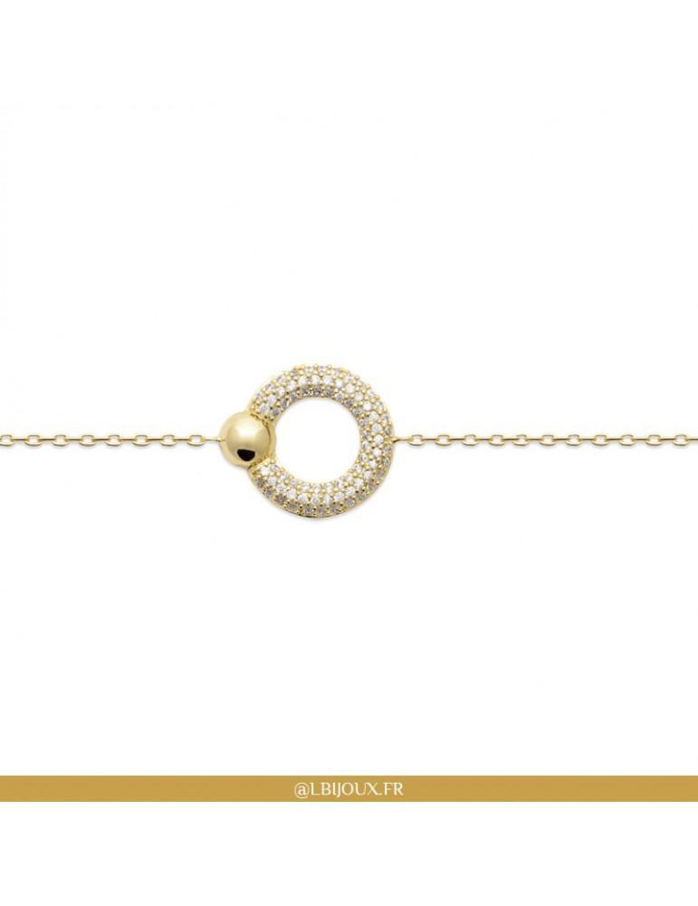 Bracelet plaqué or cercle oxydes femme