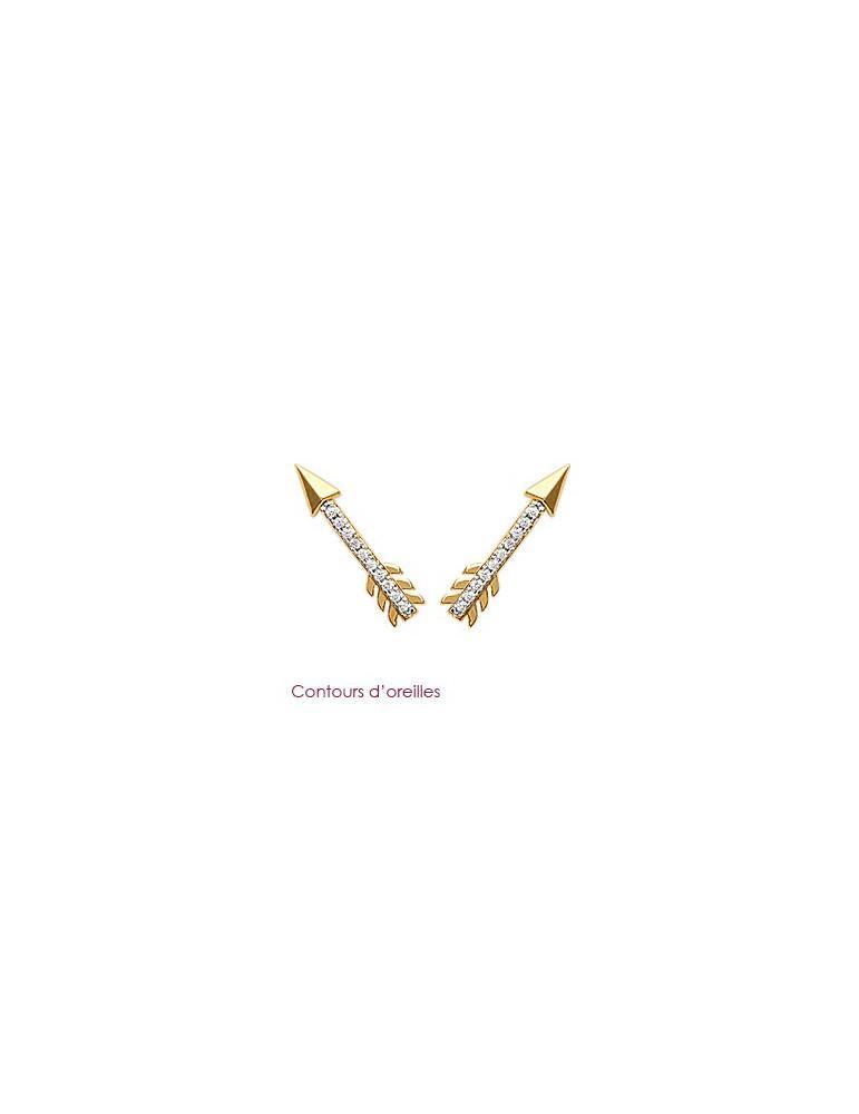 Contours d'oreilles plaqué or femme flèches et oxydes LBIJOUX - 1
