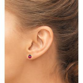 Boucles d'oreilles argent 925 coccinelle enfant femme