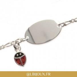 Bracelet identité gourmette argent 925 coccinelle enfant bébé