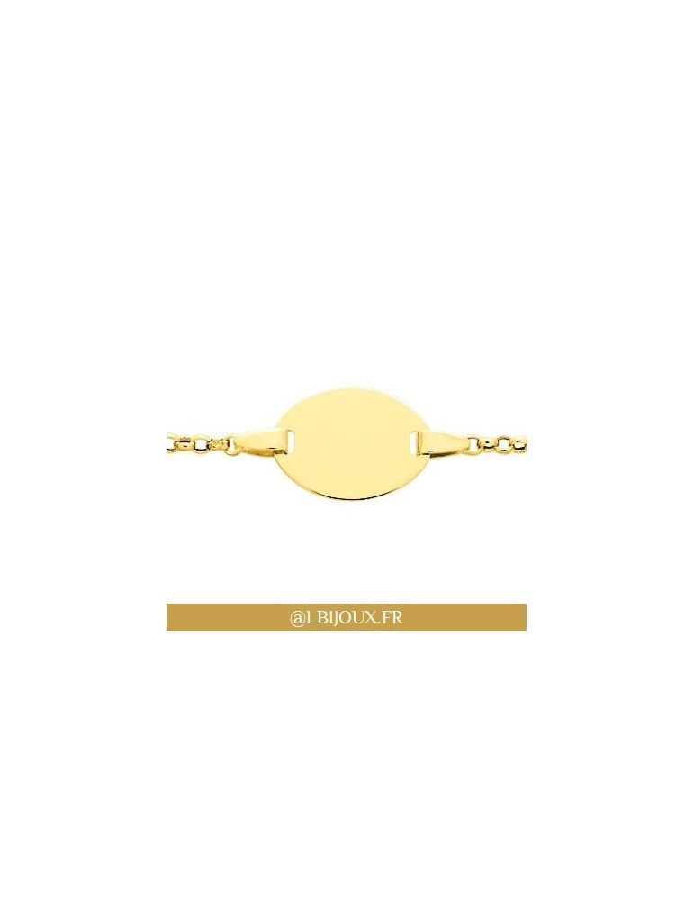 Bracelet gourmette identité or 750 avec plaque bébé