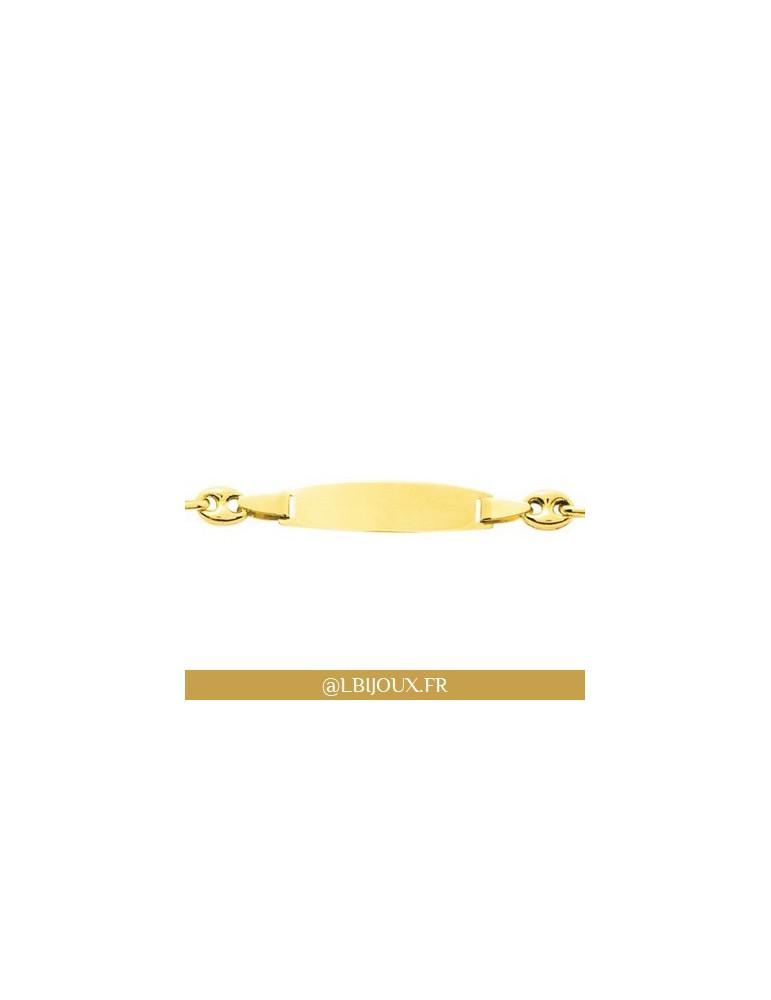 Bracelet gourmette identité grain de café or 750 plaque bébé