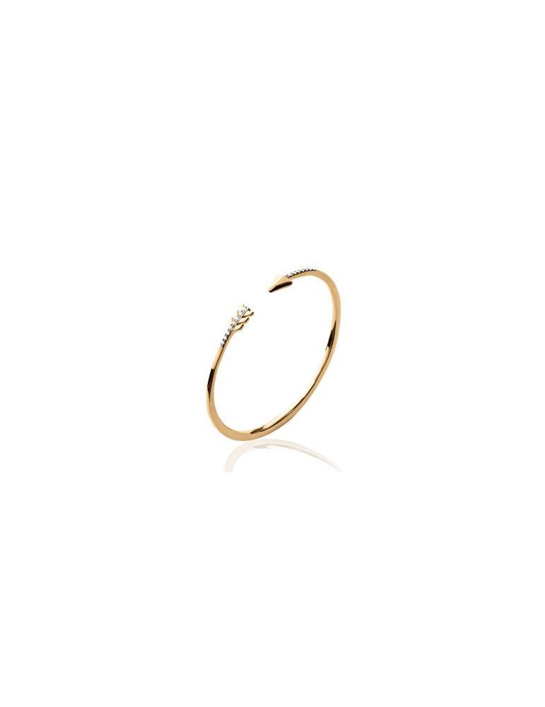 Bracelet jonc plaqué or femme ouvert flèche et oxydes LBIJOUX - 1