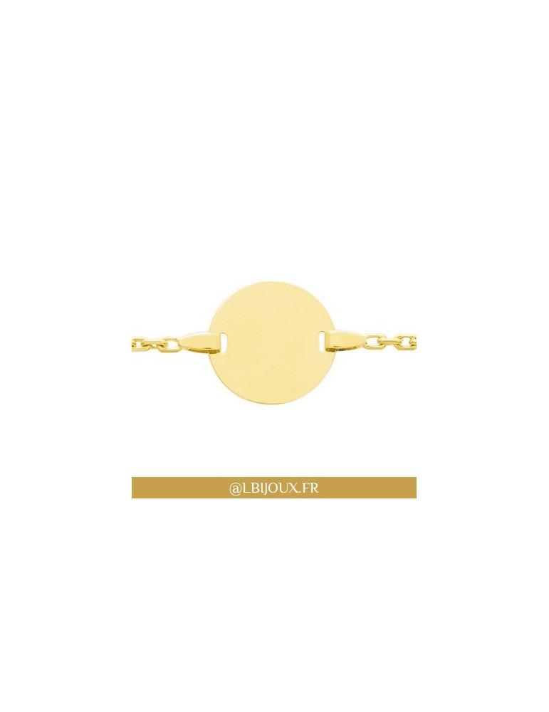Bracelet gourmette identité or 750 plaque bébé