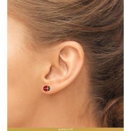 Boucles d'oreilles plaqué or coccinelle bébé fille femme