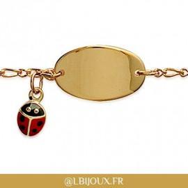 Bracelet gourmette identité plaqué or coccinelle bébé enfant