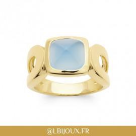 Bague plaqué or pyramide agate bleue femme
