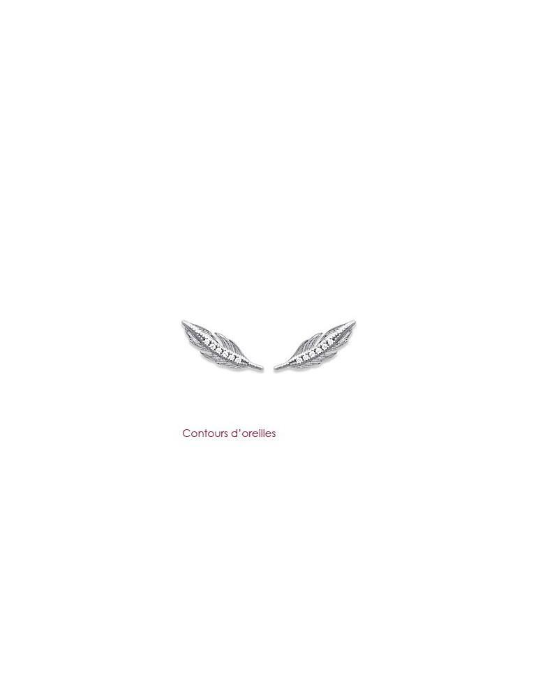 Contours d'oreilles argent 925 rhodié femme plumes et oxydes