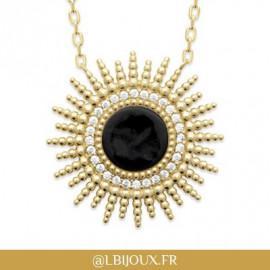 Collier plaqué or soleil perlé agate noire oxydes femme