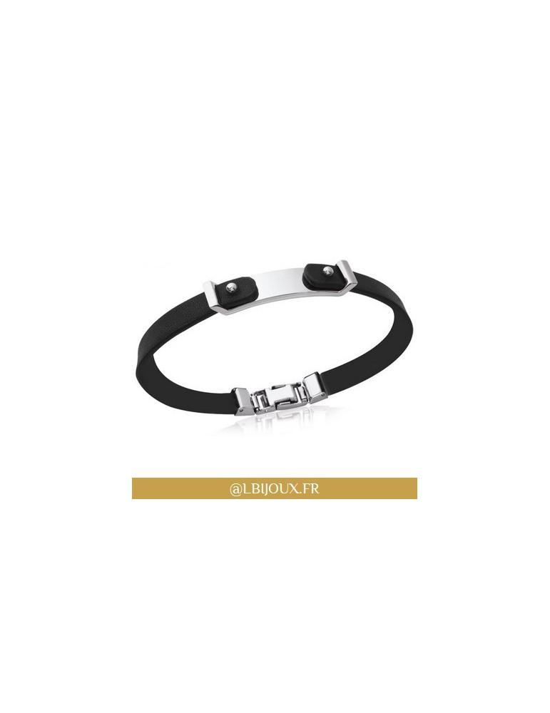 Bracelet acier et cuir personnalisable homme