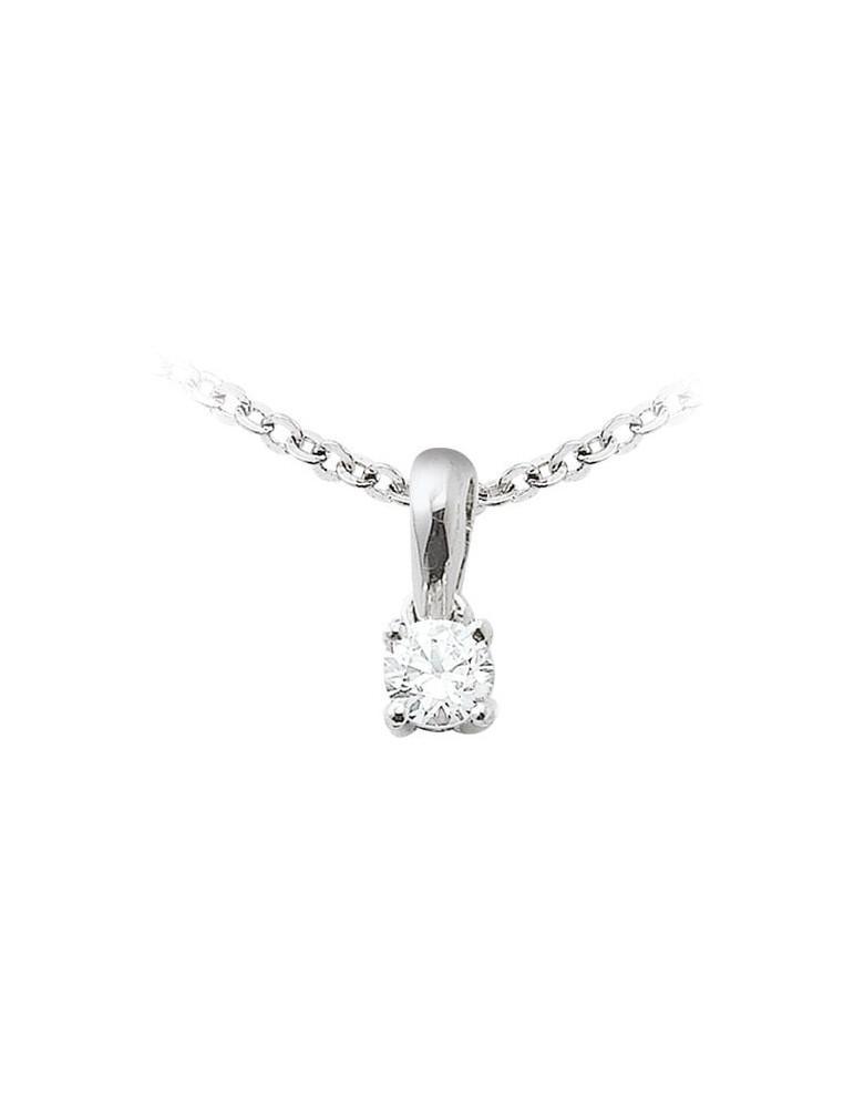 Pendentif or 750 blanc diamant de synthèse 0.10 ct certifié