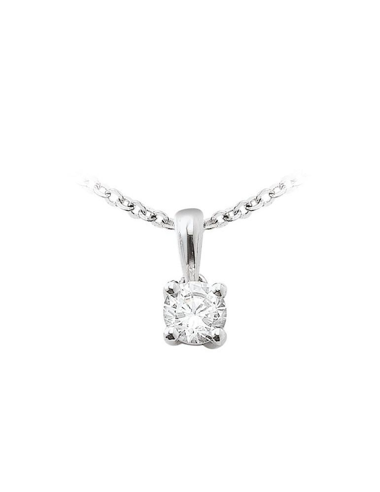 Pendentif or 750 (blanc jaune rose) diamant de synthèse 0.20 ct certifié