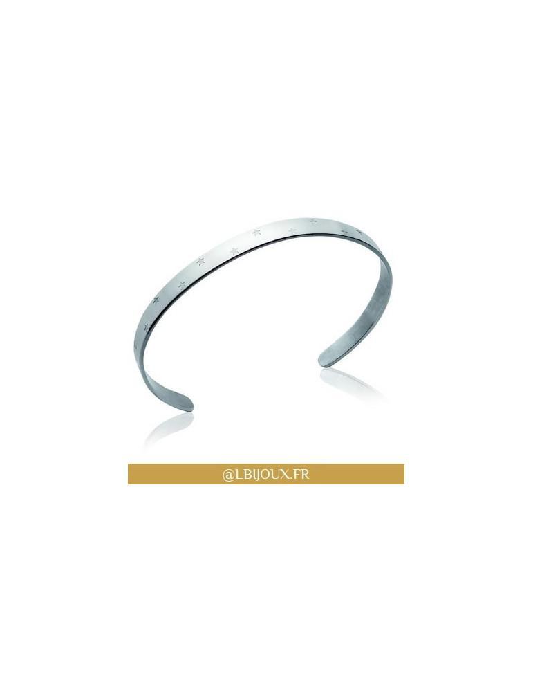 Bracelet jonc plat acier étoiles femme