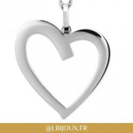 Collier acier et pendentif cœur femme