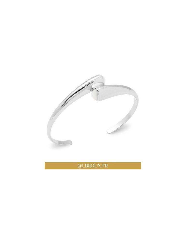 Bracelet jonc argent 925 rhodié ouvert triangle nacre femme