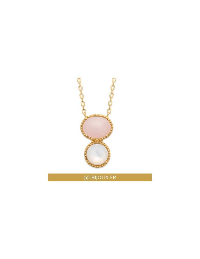 Collier plaqué or perlé femme nacre et quartz rose