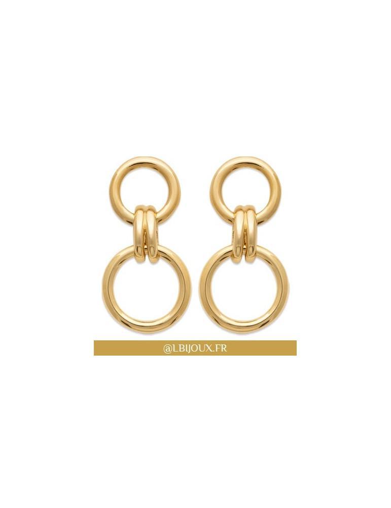 Boucles d'oreilles plaqué or pendantes anneaux et godrons