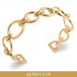 Bracelet plaqué or rigide cercles et godrons femme