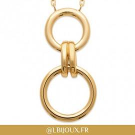 Collier plaqué or cercles et godrons femme