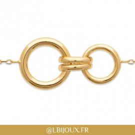 Bracelet plaqué or cercles et godrons femme