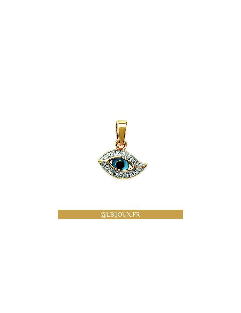 Pendentif plaqué or bicolore œil de protection