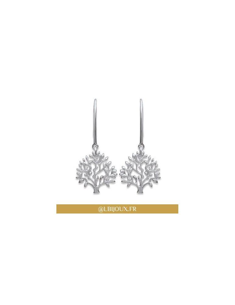 Boucles d'oreilles argent 925 rhodié pendantes arbre de vie femme