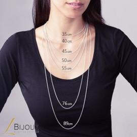 Collier argent 925 rhodié perlé oxyde femme