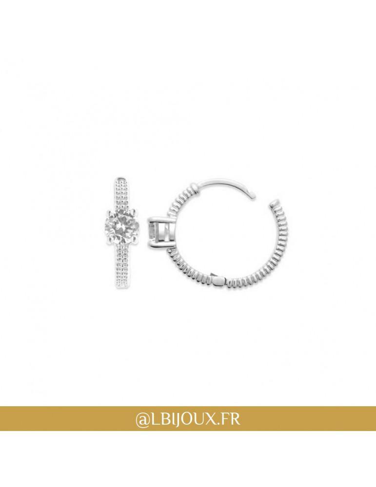 Boucles d'oreilles créoles argent 925 rhodié perlé oxyde femme