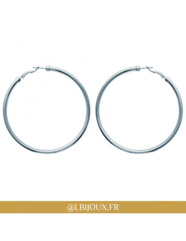 Boucles d'oreilles créoles acier rondes 70 mm 3 mm femme