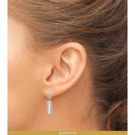 Boucles d'oreilles pendantes argent 925 rhodié nacre oxydes femme
