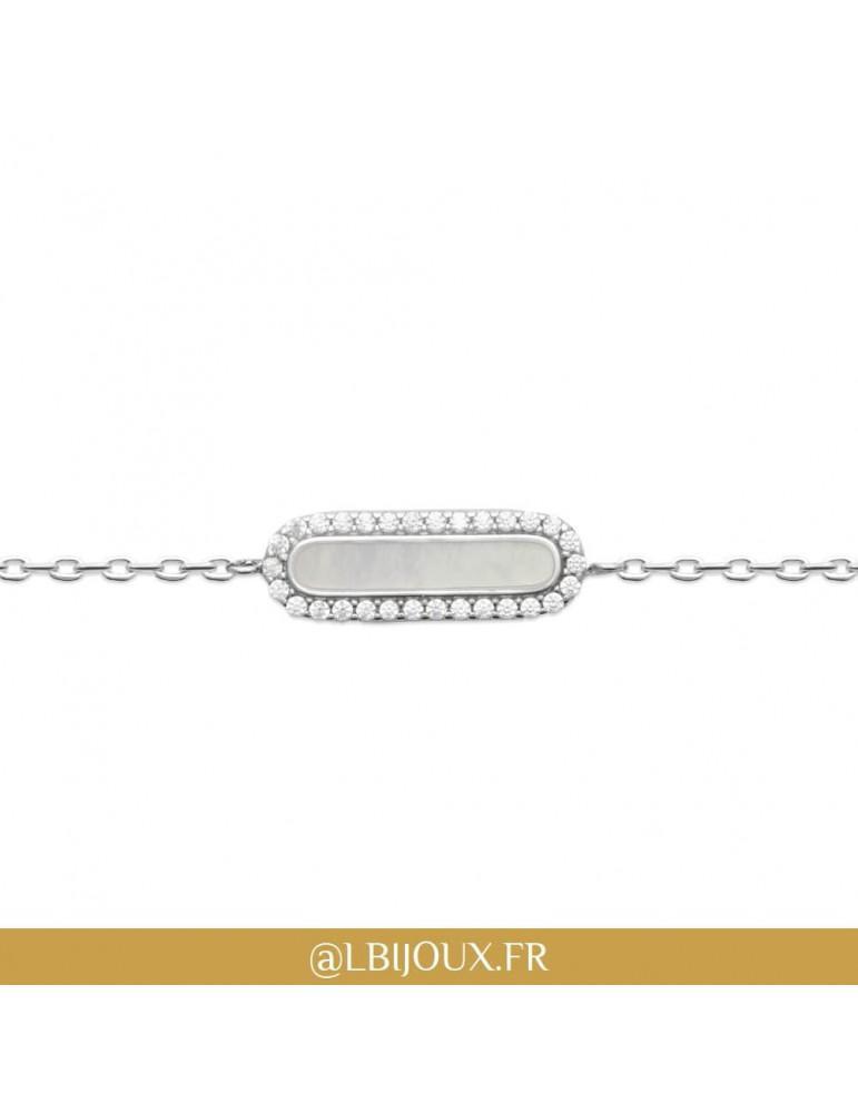 Bracelet argent 925 rhodié nacre et oxydes femme