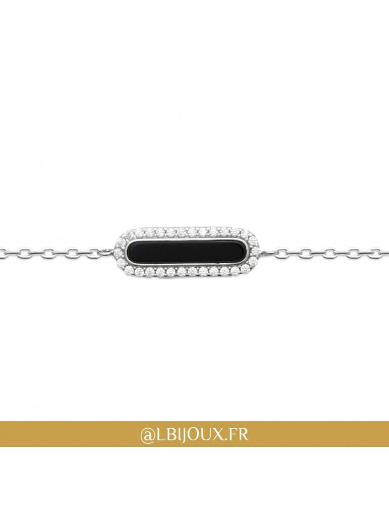 Bracelet argent 925 rhodié agate noire et oxydes femme