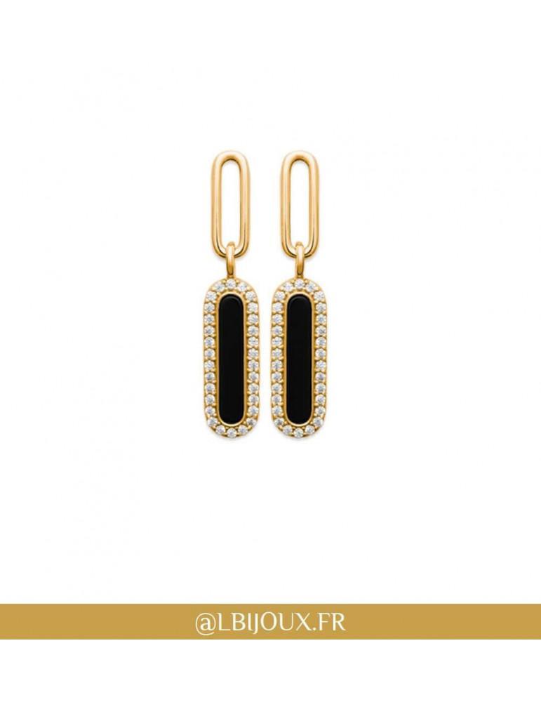 Boucles d'oreilles pendantes plaqué or rétro agate noire et oxydes femme