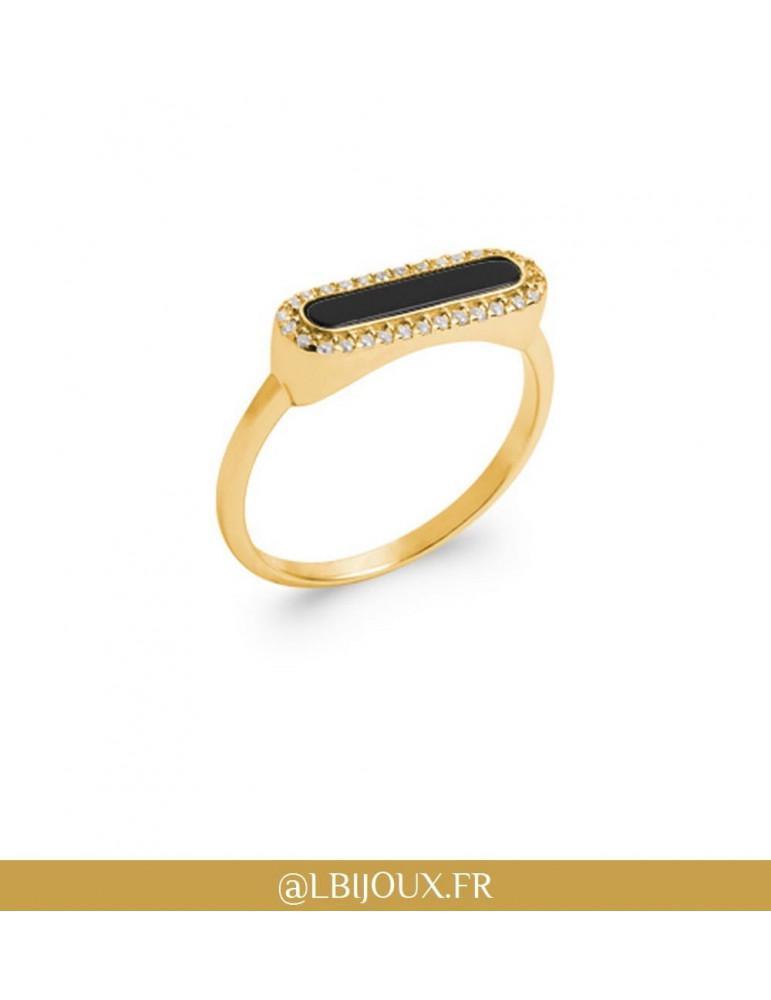 Bague plaqué or rétro agate noire et oxydes femme