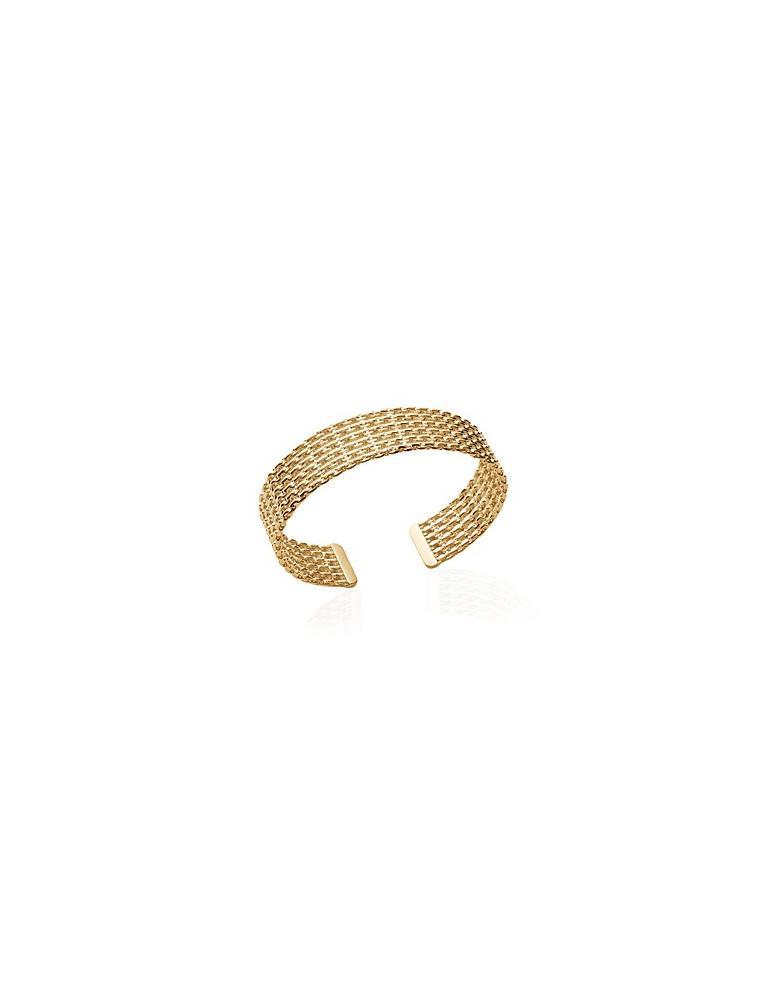 Bracelet large manchette plaqué or femme chaînes