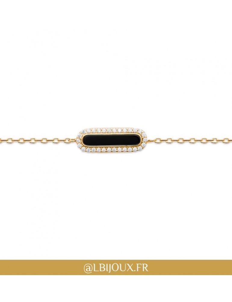 Bracelet plaqué or rétro agate noire et oxydes femme
