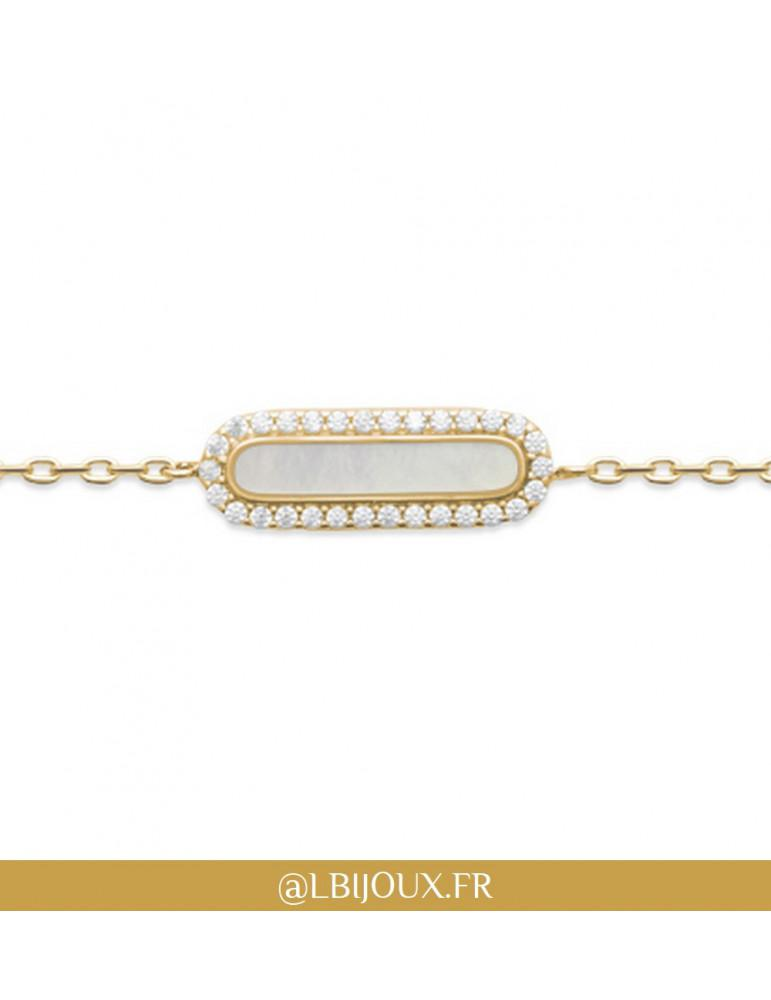 Bracelet plaqué or rétro nacre et oxydes femme