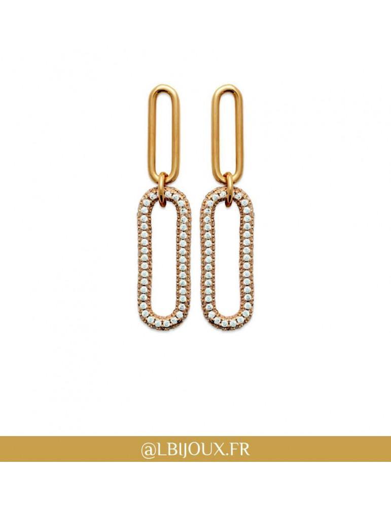 Boucles d'oreilles pendantes plaqué or rétro oxydes femme