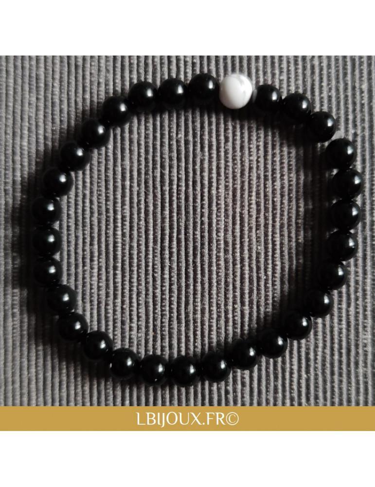 Bracelet perles naturelles agate noire et howlite