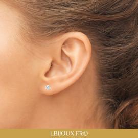 Boucles d'oreilles plaqué or puce oxyde femme homme
