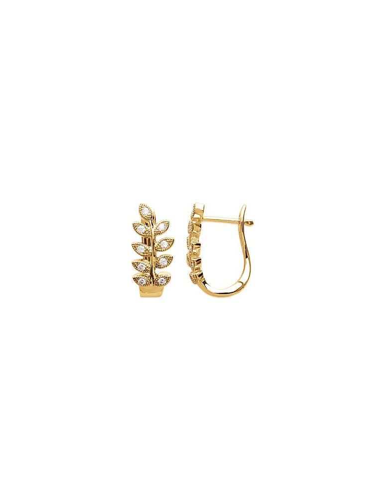 Boucles d'oreilles plaqué or femme laurier et oxydes LBIJOUX - 1