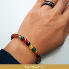 """Bracelet perles agates dragibus """"Chance et Stabilité"""" femme homme"""