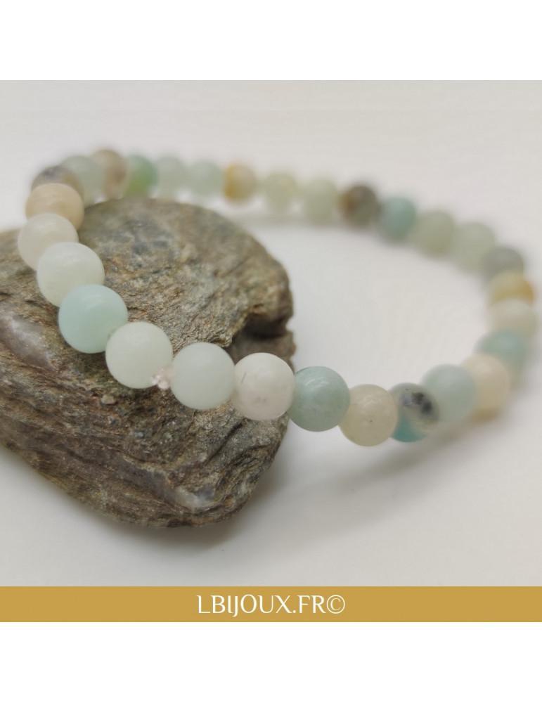 """Bracelet perles amazonite """"Équilibre"""" femme homme"""